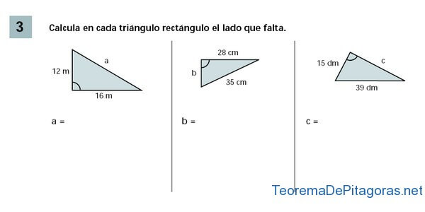 calcular lado triangulo rectangulo
