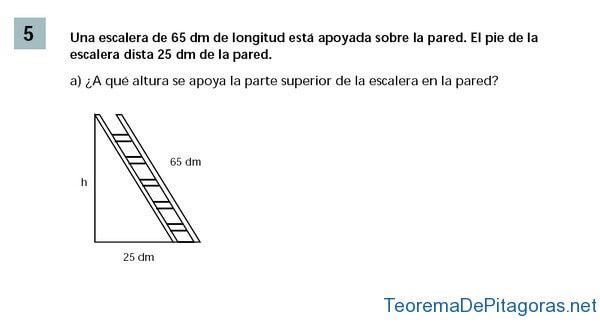 problema aplicacion teorema pitagoras